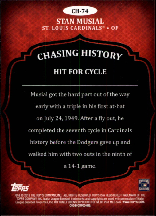 2013 Topps Chasing History #CH74 Stan Musial back image