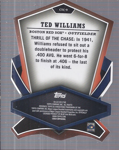 2013 Topps Cut To The Chase #CTC9 Ted Williams back image