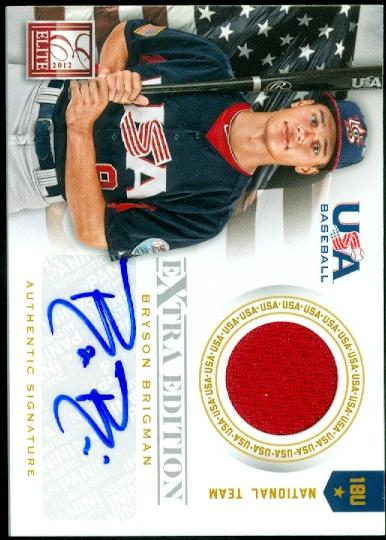 2012 Elite Extra Edition USA Baseball 18U Game Jersey Signatures #5 Bryson Brigman