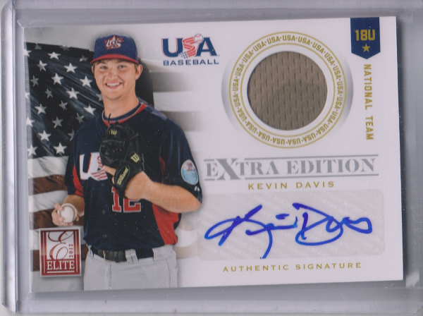 2012 Elite Extra Edition USA Baseball 18U Game Jersey Signatures #6 Kevin Davis