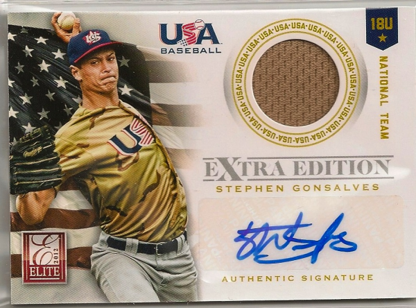 2012 Elite Extra Edition USA Baseball 18U Game Jersey Signatures #7 Stephen Gonsalves