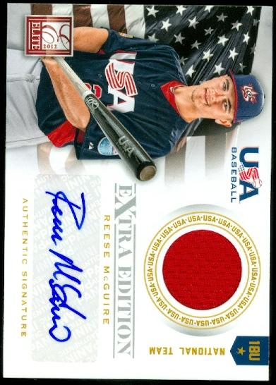 2012 Elite Extra Edition USA Baseball 18U Game Jersey Signatures #12 Reese McGuire