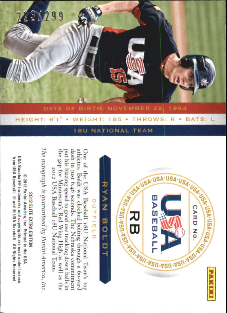 2012 Elite Extra Edition USA Baseball 18U Signatures #4 Ryan Boldt back image