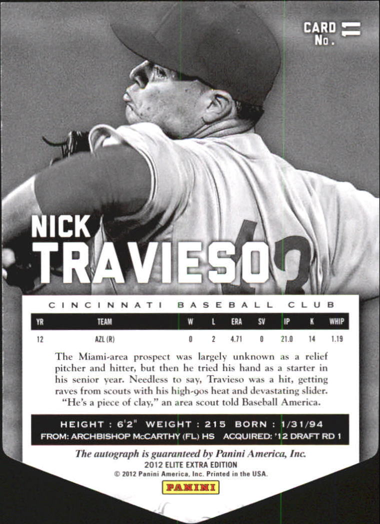 2012 Elite Extra Edition Signature Aspirations #11 Nick Travieso back image