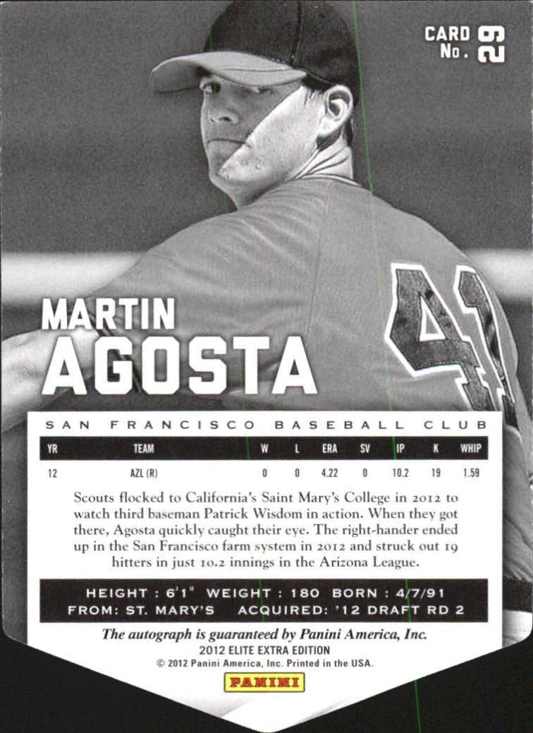 2012 Elite Extra Edition Signature Status Emerald #29 Martin Agosta back image