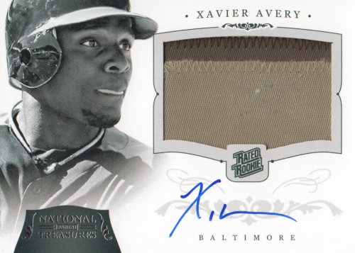 2012 Panini National Treasures #221 Xavier Avery Jsy AU RC