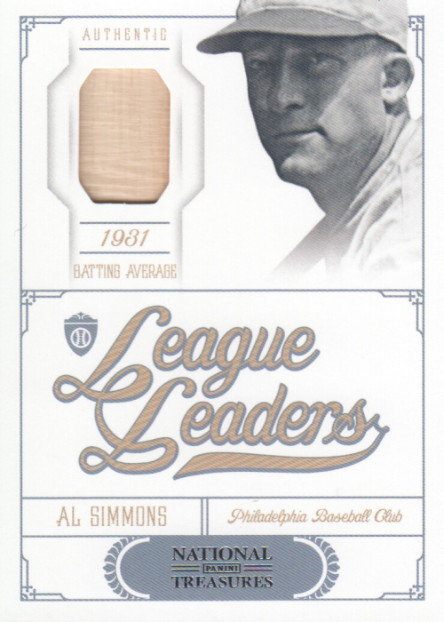 2012 Panini National Treasures League Leaders Materials #23 Al Simmons/99