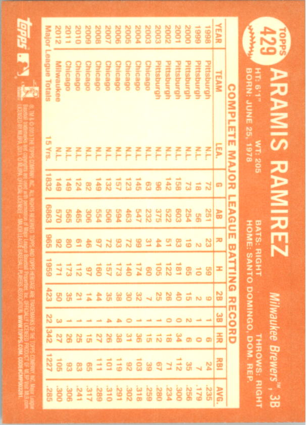 2013 Topps Heritage #429 Aramis Ramirez SP back image