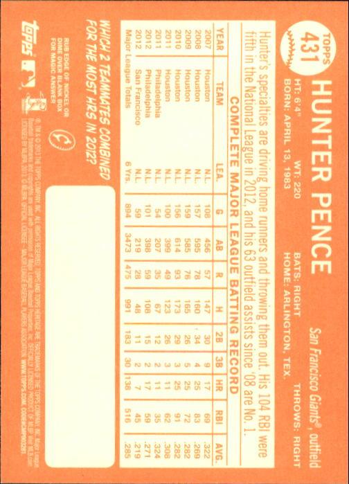 2013 Topps Heritage #431 Hunter Pence SP back image