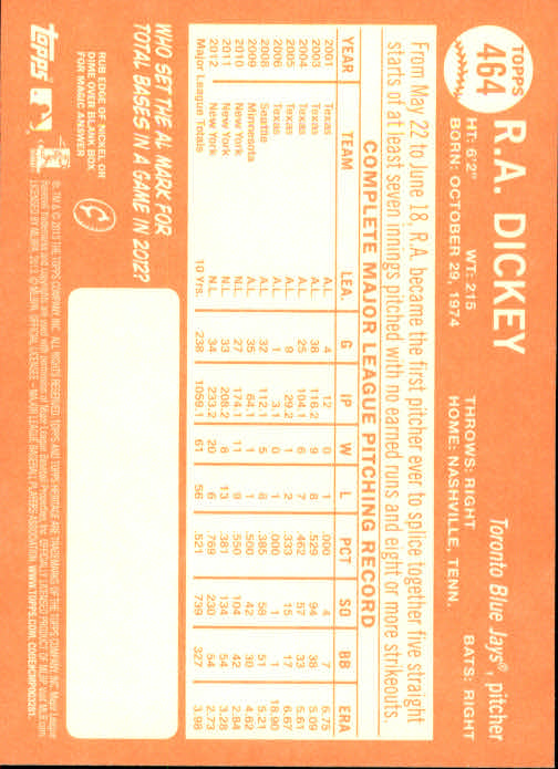 2013 Topps Heritage #464A R.A. Dickey SP back image