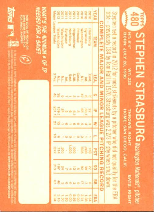 2013 Topps Heritage #480A Stephen Strasburg SP back image