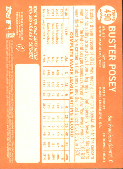 2013 Topps Heritage #490A Buster Posey SP back image