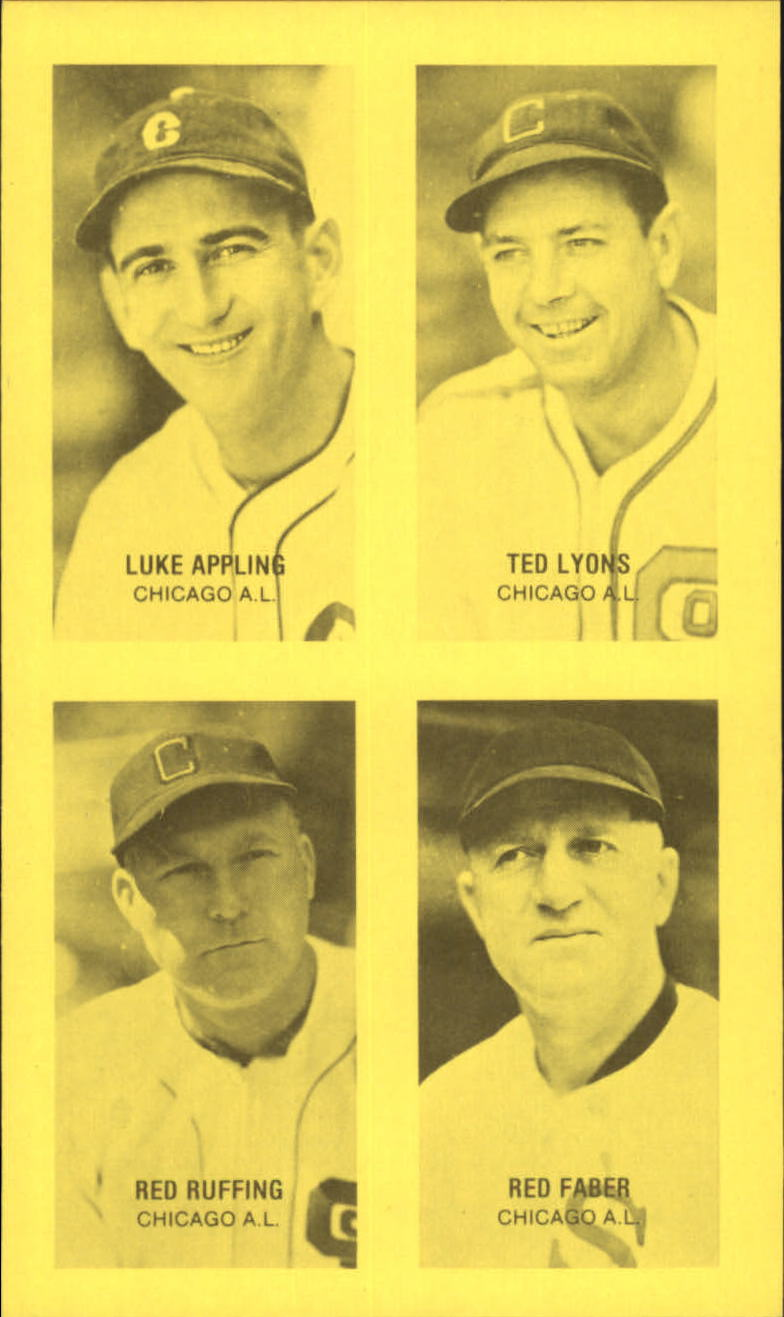 1977 Jim Rowe 4-in-1 Exhibits #1 Luke Appling/Ted Lyons/Red Ruffing/Red Faber