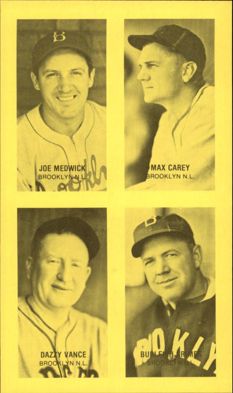 1977 Jim Rowe 4-in-1 Exhibits #11 Joe Medwick/Max Carey/Dazzy Vance/Burleigh Grimes