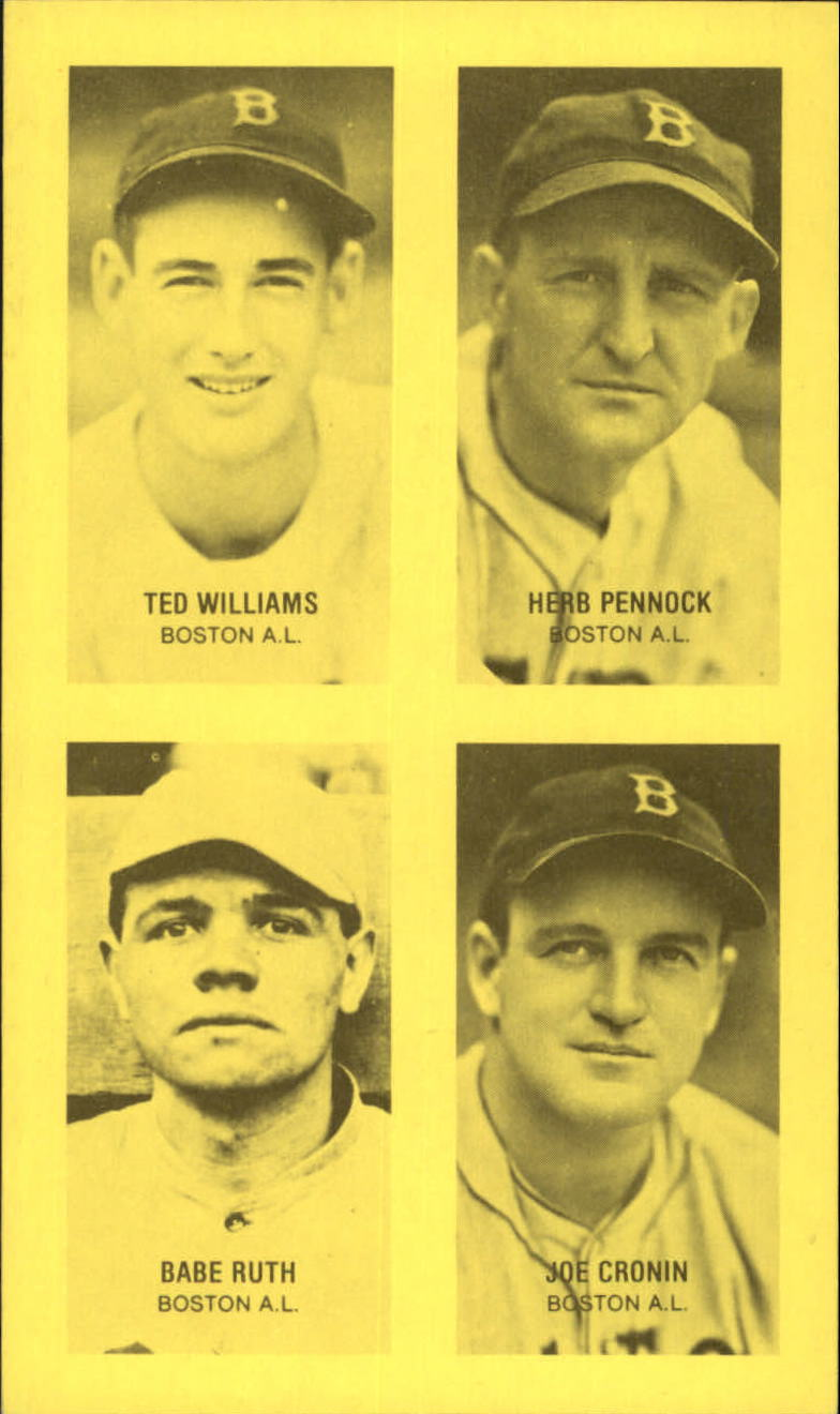1977 Jim Rowe 4-in-1 Exhibits #16 Ted Williams/Herb Pennock/Babe Ruth/Joe Cronin