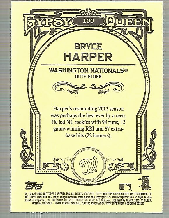2013 Topps Gypsy Queen #100A Bryce Harper back image
