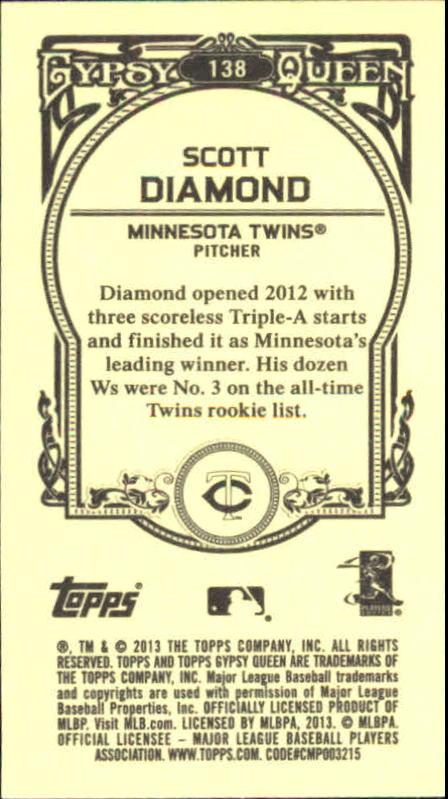 2013 Topps Gypsy Queen Mini #138 Scott Diamond back image