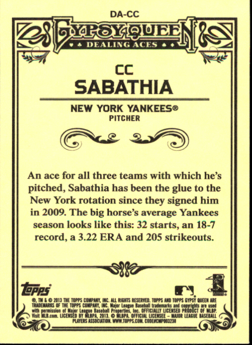 2013 Topps Gypsy Queen Dealing Aces #CC CC Sabathia back image