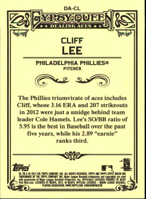 2013 Topps Gypsy Queen Dealing Aces #CL Cliff Lee back image