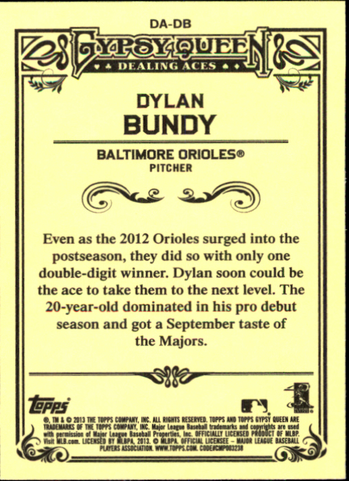 2013 Topps Gypsy Queen Dealing Aces #DB Dylan Bundy back image