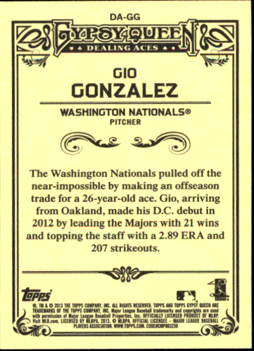 2013 Topps Gypsy Queen Dealing Aces #GG Gio Gonzalez back image