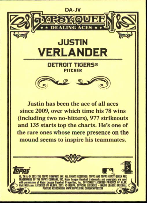 2013 Topps Gypsy Queen Dealing Aces #JV Justin Verlander back image