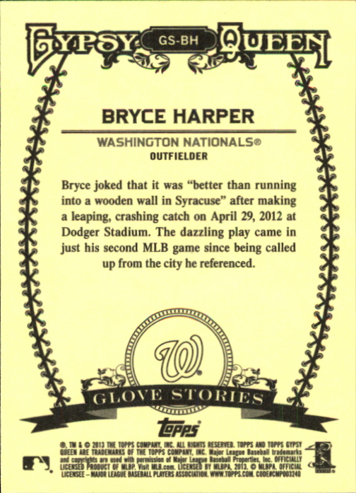 2013 Topps Gypsy Queen Glove Stories #BH Bryce Harper back image