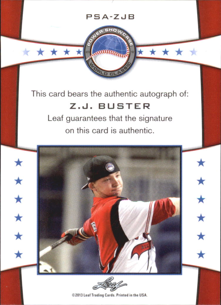 2013 Leaf Power Showcase Autographs Red #ZJB Z.J. Buster back image