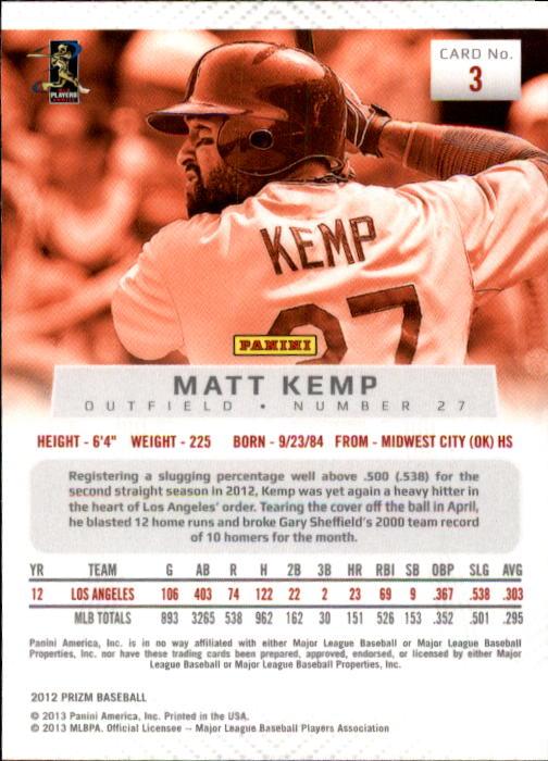 2012 Panini Prizm #3 Matt Kemp back image