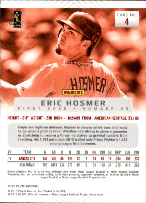 2012 Panini Prizm #4 Eric Hosmer back image