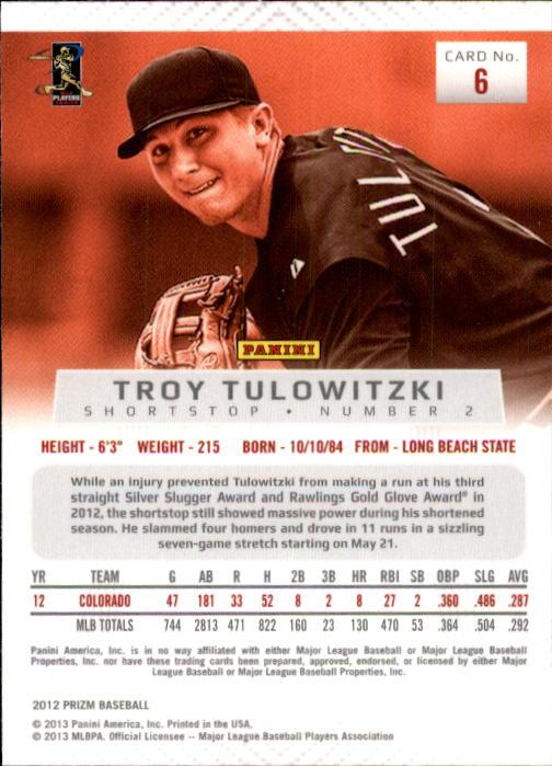 2012 Panini Prizm #6 Troy Tulowitzki back image