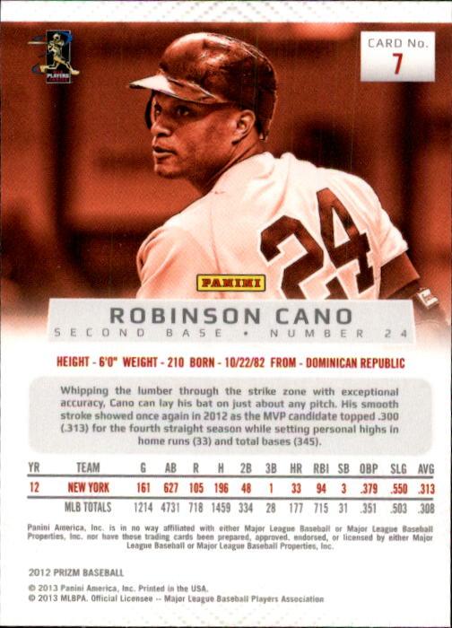 2012 Panini Prizm #7 Robinson Cano back image