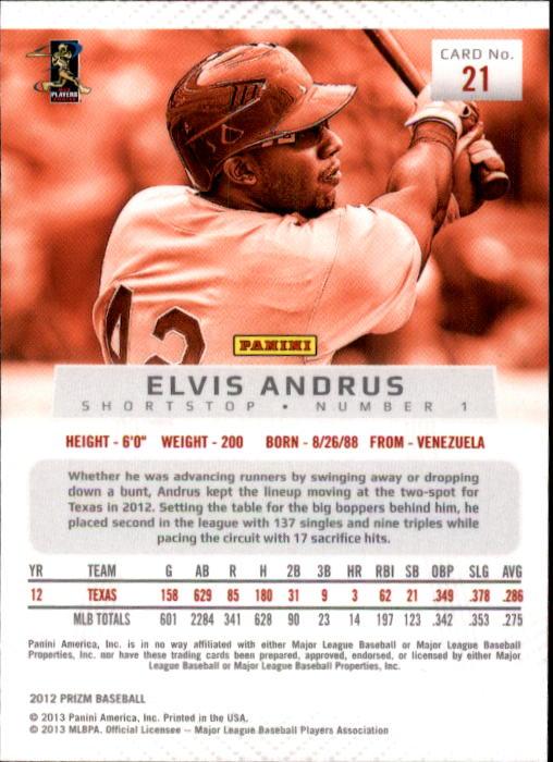 2012 Panini Prizm #21 Elvis Andrus back image