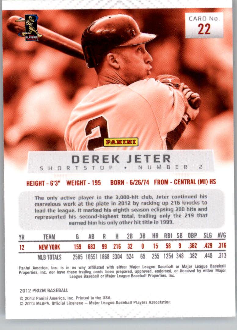 2012 Panini Prizm #22 Derek Jeter back image