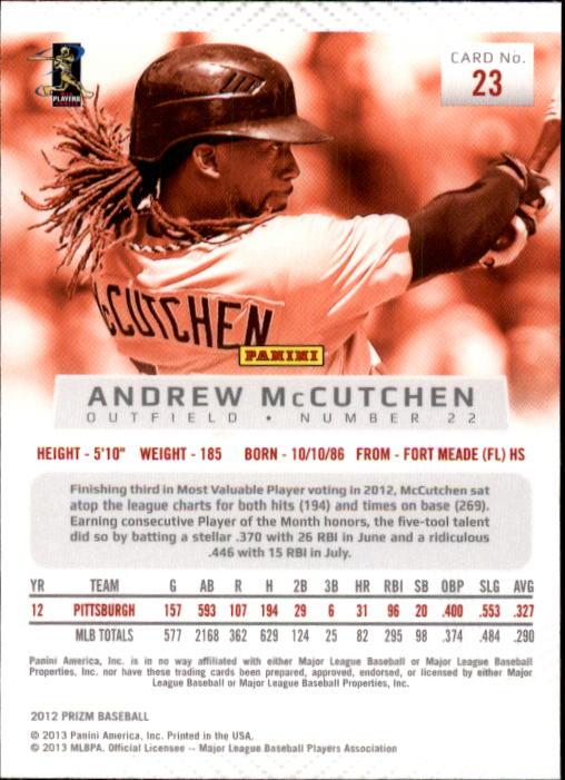 2012 Panini Prizm #23 Andrew McCutchen back image