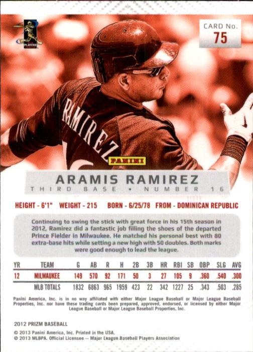 2012 Panini Prizm #75 Aramis Ramirez back image