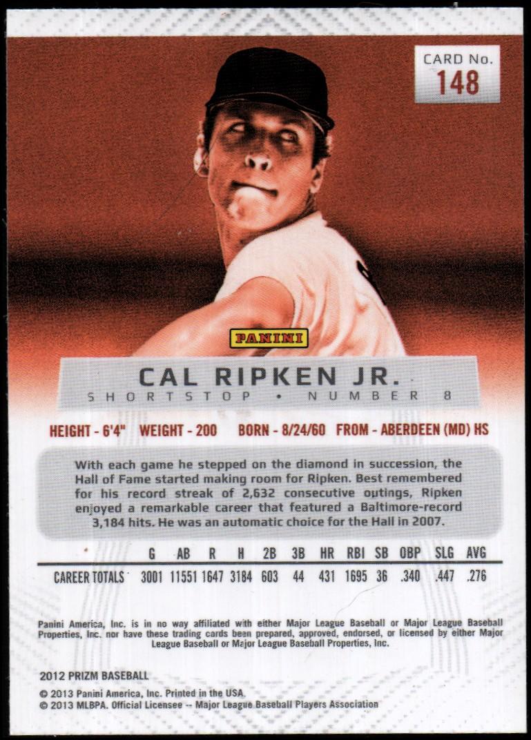 2012 Panini Prizm #148 Cal Ripken Jr. back image