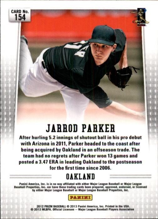2012 Panini Prizm #154 Jarrod Parker RC back image