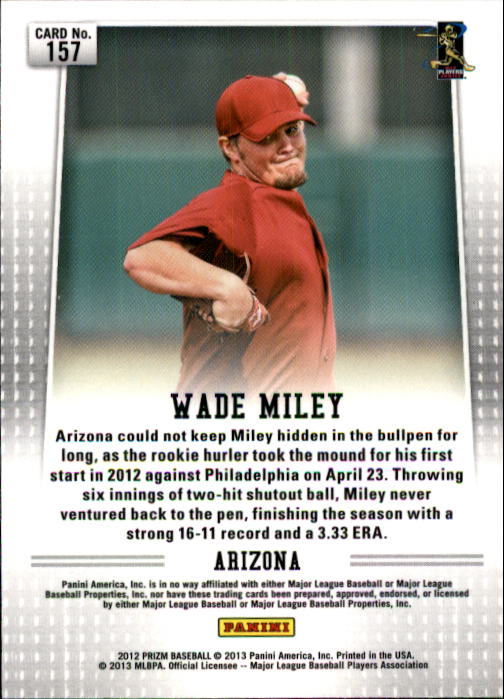 2012 Panini Prizm #157 Wade Miley RC back image