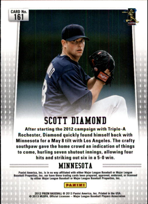 2012 Panini Prizm #161 Scott Diamond RC back image