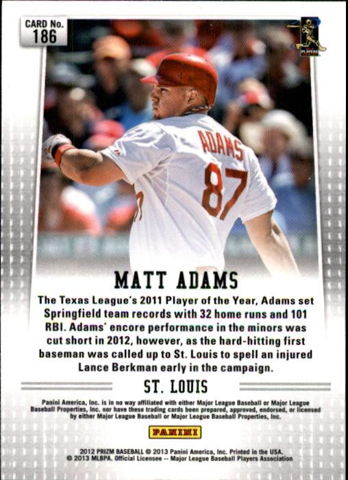 2012 Panini Prizm #186 Matt Adams RC back image