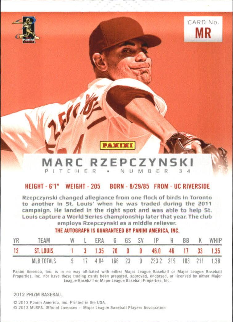 2012 Panini Prizm Autographs #MR Marc Rzepczynski back image