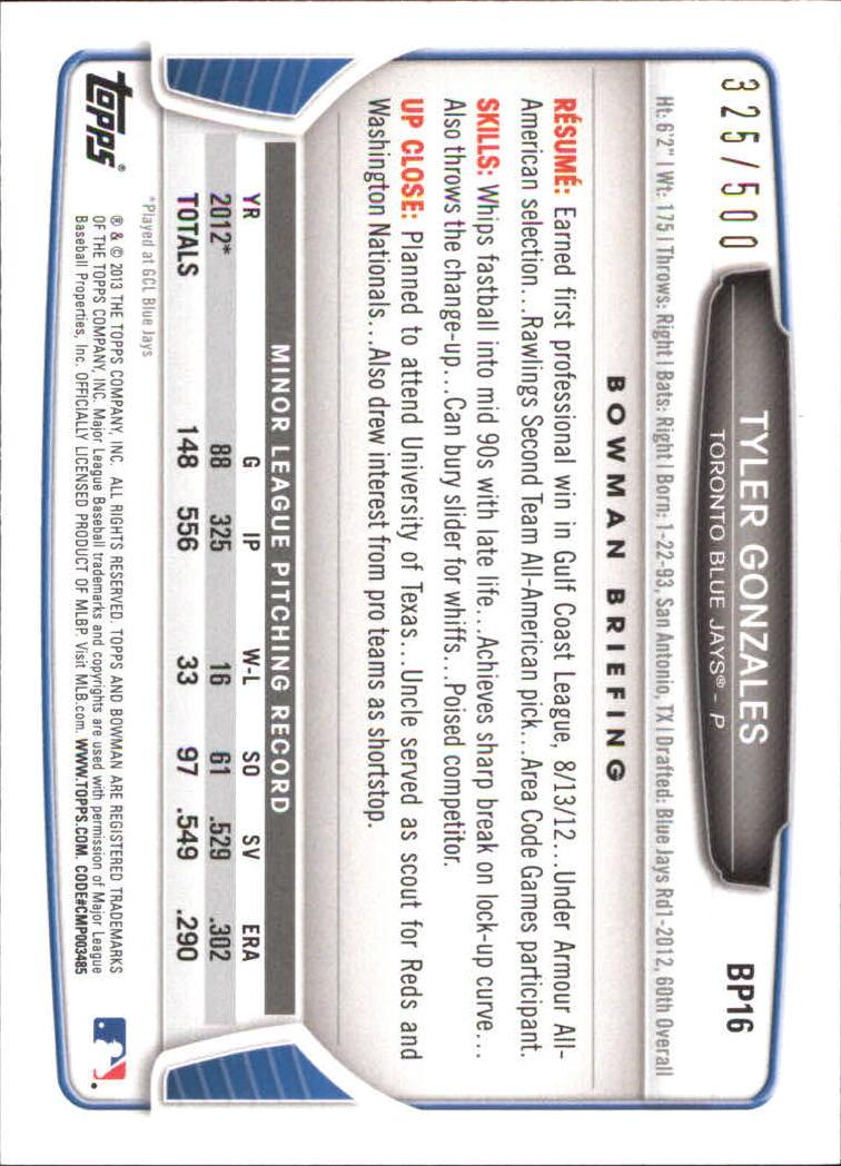 2013 Bowman Prospects Blue #BP16 Tyler Gonzales back image