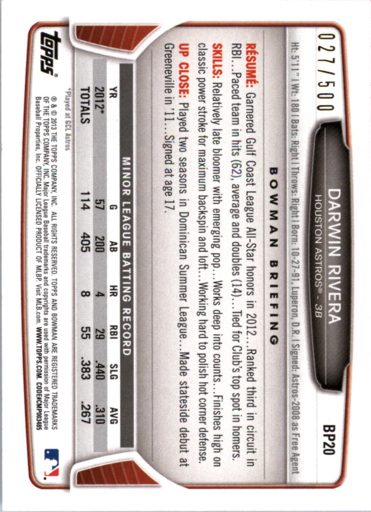 2013 Bowman Prospects Blue #BP20 Darwin Rivera back image
