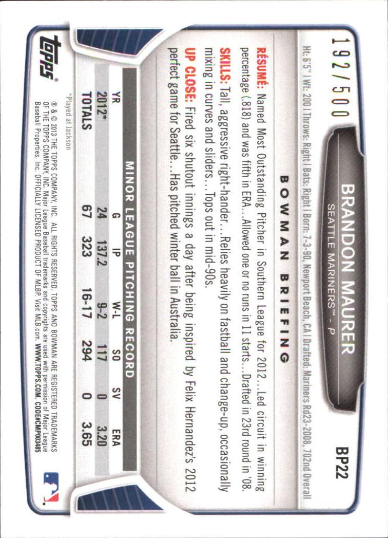 2013 Bowman Prospects Blue #BP22 Brandon Maurer back image