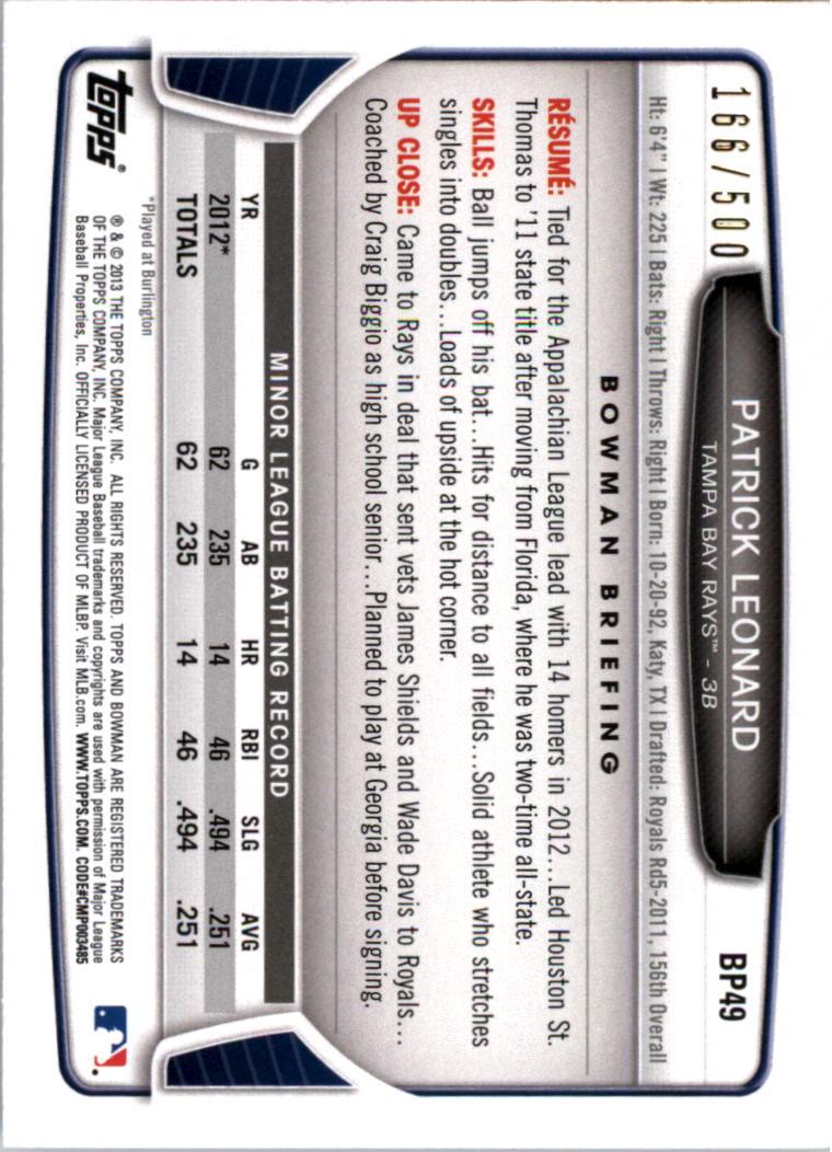 2013 Bowman Prospects Blue #BP49 Patrick Leonard back image