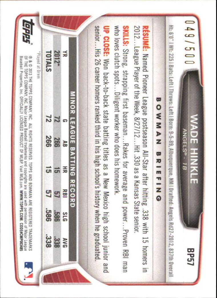 2013 Bowman Prospects Blue #BP57 Wade Hinkle back image