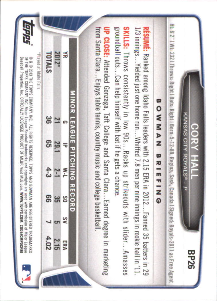 2013 Bowman Prospects Hometown #BP26 Cory Hall back image