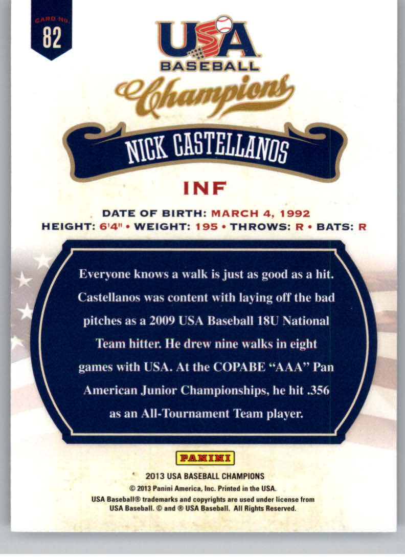 2013 USA Baseball Champions #82 Nick Castellanos back image