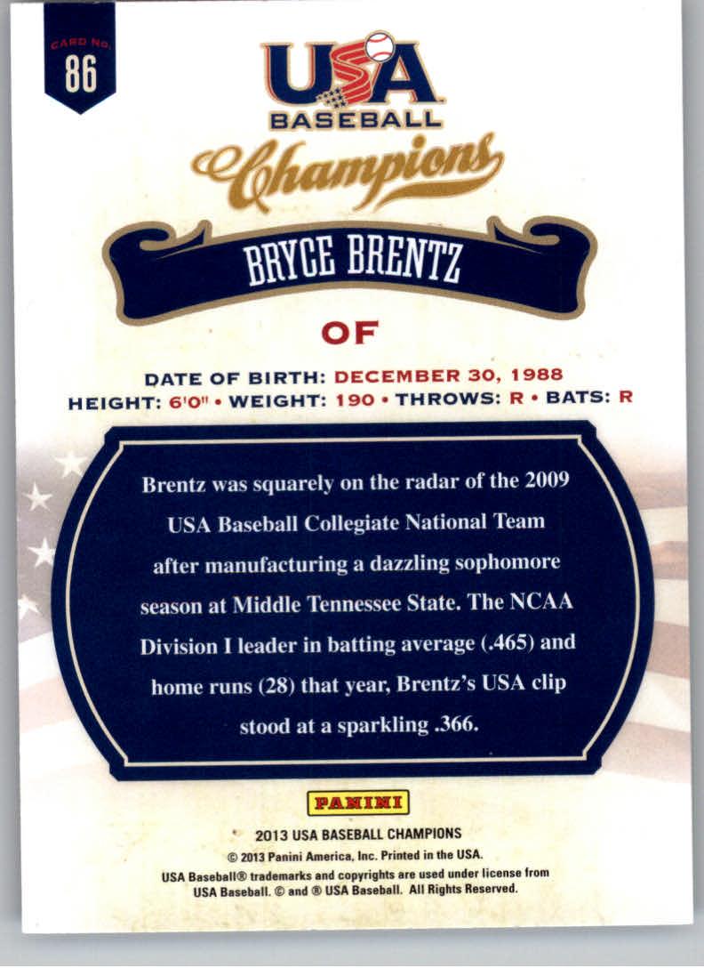 2013 USA Baseball Champions #86 Bryce Brentz back image